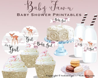 Baby Fawn Baby Shower Party Printables - Personalized -Rustic Baby Shower , Floral Deer