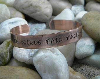Where Words Fail Music Speaks hand stamped bracelet - Antiqued Copper