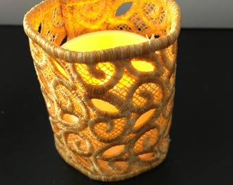 Embroidered Lace Votive Candle Cover - LED Candle Included