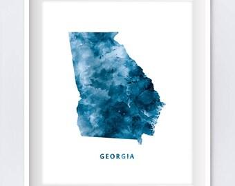 georgia map art print atlanta print usa poster watercolor modern with denver colorado state map
