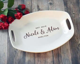 Personalized Cheese Platter - Wedding Gift - Housewarming Gift - Serving Dish - Serving Tray - Ceramic Tray - Cheese Platter - Gift Wrapped