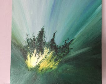 Abstract Acrylic Painting, Original Canvas Art, Textured Painting 8x10, Green and Yellow
