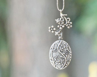 Floral Locket Necklace - silver plated rhinestone vintage look secret hiding place