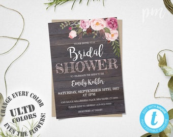 Rustic Floral Bridal Shower Invitation Template, Printable Rustic Bridal Shower Template, Barn Wood Bridal Shower Invite, Instant Download