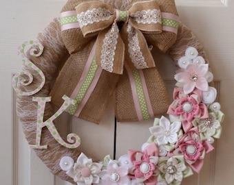Custom Baby Wreath Door Wreath Nursery Wreath Baby Shower Wreath Event Wreath Monogram Baby Wreath