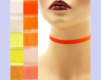 Orange or Yellow Velvet Choker 3/8 inch wide Custom made Your Length and Color shade (approximate width 9 - 10 mm) elastic colors noted gold