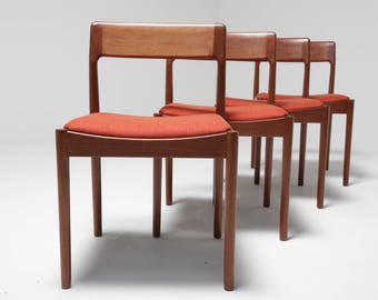 Mid-century Johannes Nörgaard Dining chairs teak vintage retro Scandinavian modern Denmark 60s 70s