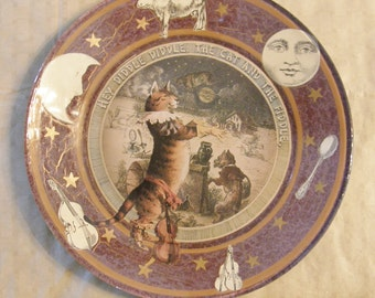 Hey Diddle Diddle Nursery Rhyme Decoupaged Plate