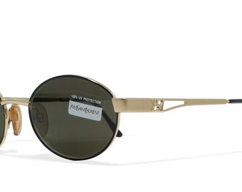 Yves Saint Laurent 6052 Y104 Gold Vintage Sunglasses Oval For Men and Women