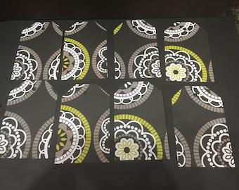 """Black Floral Design 4"""" tags - set of 8"""
