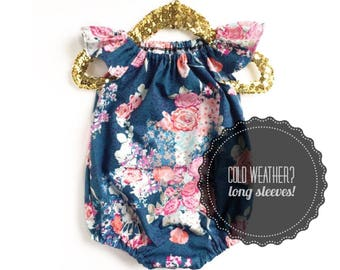Blue Baby Romper, Floral Bubble Romper, Toddler Romper, Navy Romper, Floral Romper, Summer Baby Clothing, Winter Romper, Spring Romper