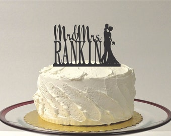 MADE In USA, Custom Wedding Cake Topper with Bride Groom Silhouette Personalized Mr and Mrs Topper YOUR Last Name Family Name Wedding Topper