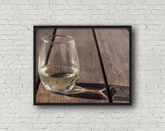Wine Glass Print / Digital Download / Fine Art Print/ Wall Art / Home Decor / Color Photograph / Food Photography / Kitchen Print