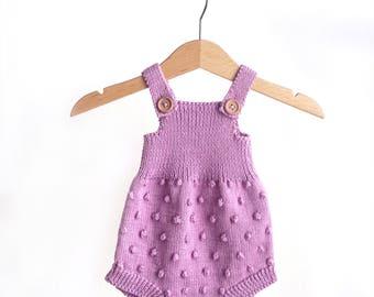 Baby Knit Romper - Newborn Outfit - Baby Onesie - Pink Romper - Photo Prop - Baby Shower Gift - 0-3 Months