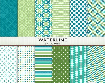 """Digital Paper - """"Waterline""""  -  Scrapbooking Instant Download - Blue and Green  - Personal Commercial G5077"""