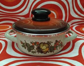 Vintage Enamel Pot, 1970s Floral-Design Cookware, Small Pot