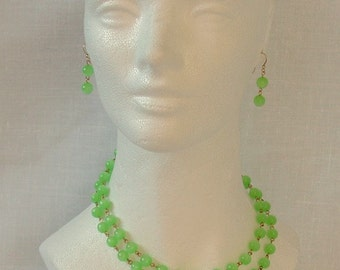 Green Lucite Moonglow Necklace and Earrings Set