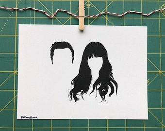 Nick & Jess New Girl silhouette art print