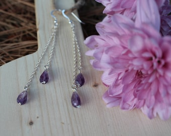 Amethyst Raindrop Earrings (silver) AMD242