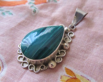 Vintage Tear Drop Pendant, Sterling Silver, Green Malachite, Filigree, Taxco Mexico, Signed Initials