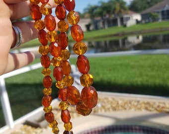 Vintage faceted Amber with a  sterling clasp Necklace Amazing-
