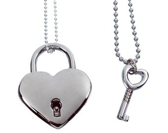 Silver Heart Lock and Key Couples Necklace - Real working Lock Pendant