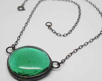 Teal Droplet - Medium Stained Glass Nugget Necklace with Sterling Silver Chain