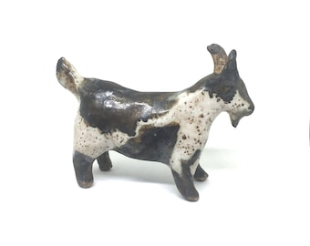 Handmade Black and White Speckled Ceramic Goat Figurine, Clay Handbuilt Spotted Goat Sculpture