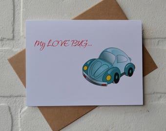 LOVE BUG card anniversary friendship card valentine's day vw love card just because card sweetheart boyfriend girlfriend card lovebug car