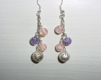 Earrings Pink Purple and champagne