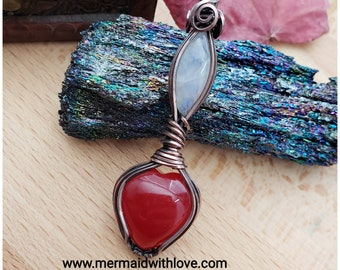 Red Jade and Moonstone pendant in Antiqued Copper