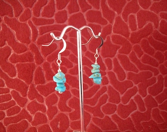 Natural Turquoise Nugget Dangle Earrings