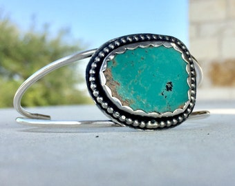 Turquoise Silver Cuff, Evans Turquoise Cuff, Contemporary Turquoise Bracelet