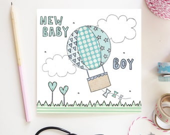 New Baby Boy Greetings Card Blue Hot Air Balloon cute Design Hand illustration and printed in the UK