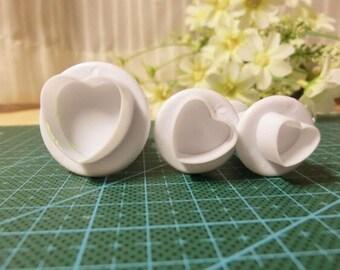 3 pc HEART Plunger Cutters, Fondant  Cutters,Polymer Clay Shape Heart Cutter