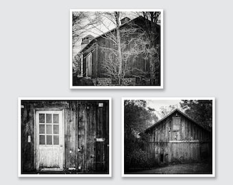 Rustic Barn Wall Gallery | Black and White Barn Print or Canvas | Barn Art | Barnwood Decor | Barn Print | Living Room Decor.