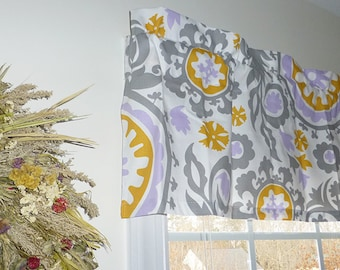 Made to Order Window Curtains, Grey Window Valance - Grey Window Curtains  - Grey Valances - Suzani Grey and Lavendar Window Valance 52 x 16