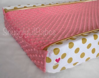 Gold, coral changing pad cover, gold satin trim and coral minky dot