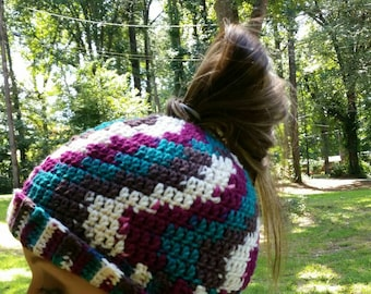 Messy Bun Beanie, Mom Bun Beanie, Ponytail Beanie, Bun Beanie, Crocheted Messy Bun, Beanie with Hole in Top