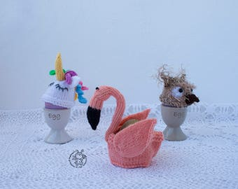 Easter egg cozy  Flamingo Owl Unicorn Easter knitting pattern knitted round Instant download Amigurumi hats for eggs Easter decoration