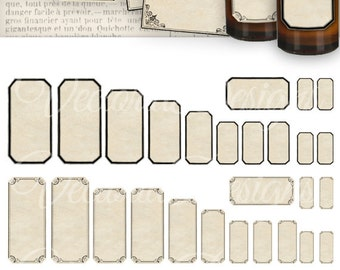 Printable Mini Apothecary Labels blank digital download apothecary jars add text instant download digital collage sheet - VD0421