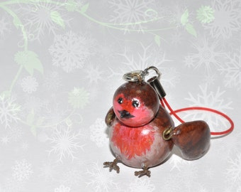 Tiny Robin Bird Cell Bag Friend Polymer Clay Doll with Cellphone Strap Christmas decoration