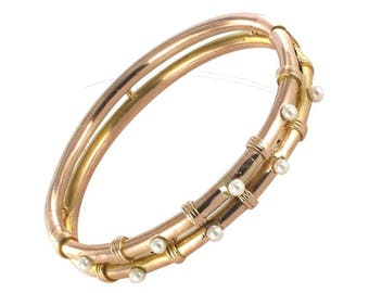 Bracelet jonc ancien en or rose perles