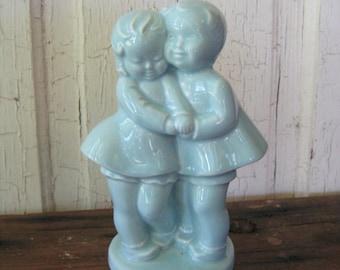 Vintage Boy and Girl SHAWNEE POTTERY PLANTER Robins Egg Blue