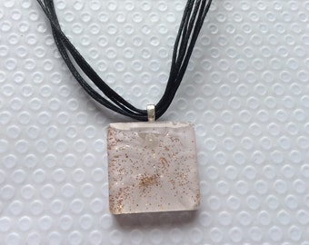 Square white and sparkling pendant
