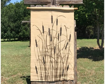 Large Cattails Wall Tapestry Wall Textile - Cattails Art - Cattails Decor - Vintage Wall Tapestry - Wool Wall Hanging - Tapestry - Rustic
