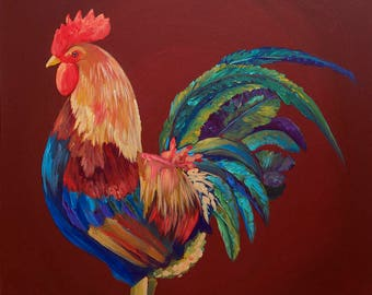 Rooster Painting, Colorful Rooster, Red Rooster, Chicken, Rooster Art, Farm Animal, Farm Art, Farm Painting, Barn Animal, Barn Art