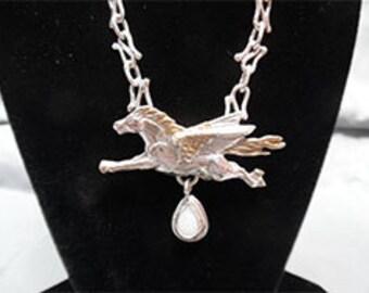 Sterling Opal Art Nouveau Pegasus Choker