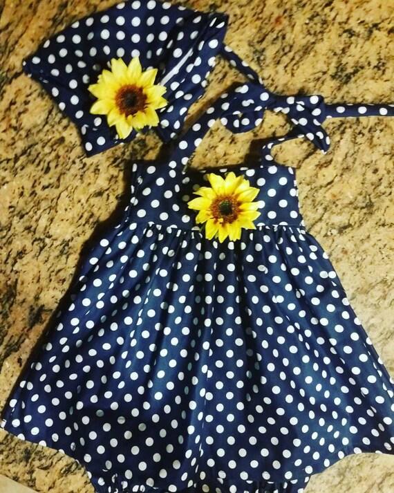 Summer Blue Dress, Blue  Spring Dress,  Easter Dress, Navy Baby Set, Bloomers Set, Sunflower Dress, Navy Blue Dress Set, Navy Blue,