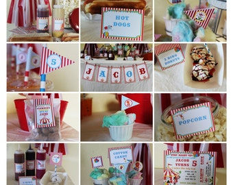INSTANT DOWNLOAD, CIRCUS Carnival Birthday Printable Party Package, You Edit Yourself in Adobe Reader